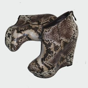 Bebe Snake Skin Style Wedge Ankle Boots